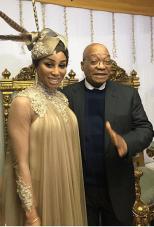 Khanyi Mbau with Pres Zuma Durban July 2016