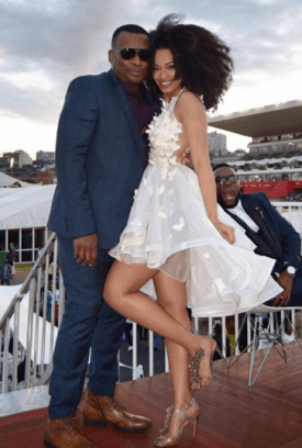 Pearl Thusi and Robert Marawa Durban July 2016
