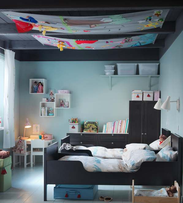 Colorful-Curtain-Ceiling-with-Chic-Black-Blue-IKEA-Bedroom