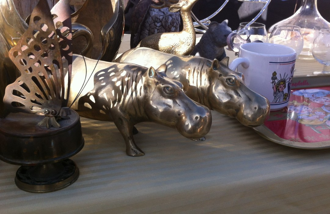 $30 for two 10 inch long brass hippos.  Could you resist?  I couldn't!!  They make me smile.