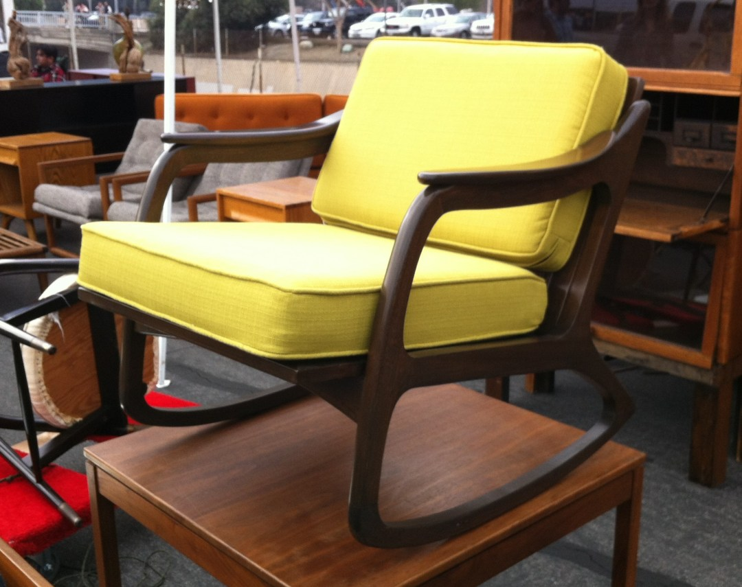 $650 for this serious rocker with new upholstery and cushions.  Not the deal of the century but still a really stunning chair.... nursery perhaps with that lemon color?