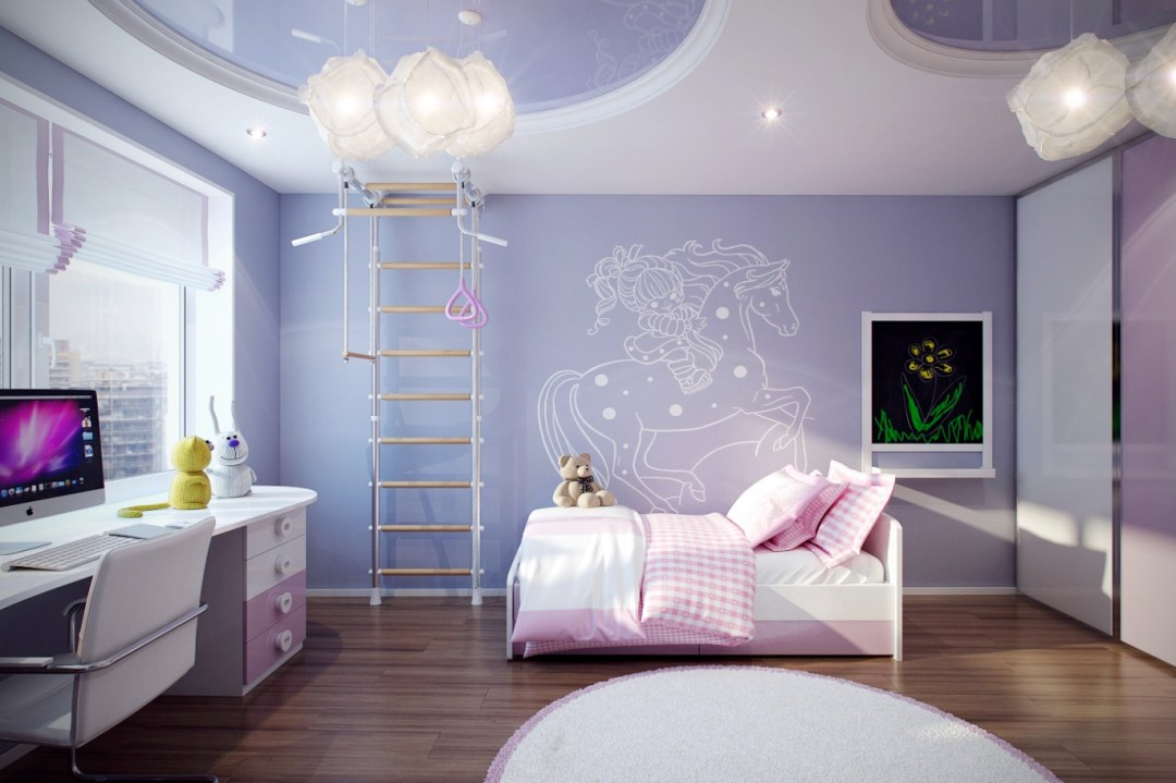 kids-room-designs-cute-purple-pink-girls-room-design-ideas-with-lovely-artistic-white-riding-horse-wall-decal-cool-ladder-attraction-awesome-circular-ceiling-designs-and-lovely-modern-bed-set-and-s