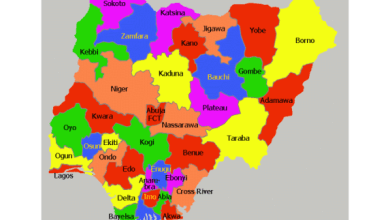 Map of Nigeria showing 36 states (Credit-Nigerian Finder)