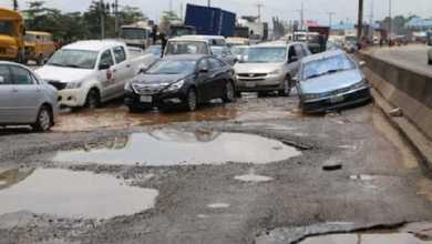 Bad road in Nigeria
