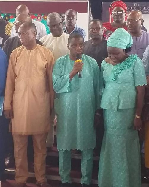 Rev. Aboyeji(middle) speaking shortly after his election. On his left is Rrev. Felix Meduoye, the outgoing General Overseer, and his wife, Olabisi, right