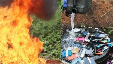 ome of the seized phones being set ablaze