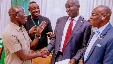 (L-R) APC National Chairman, Adams Oshimhole, banters with Ministers-designate Festus Keyamo and Babatunde Raji Fashola on Tuesday