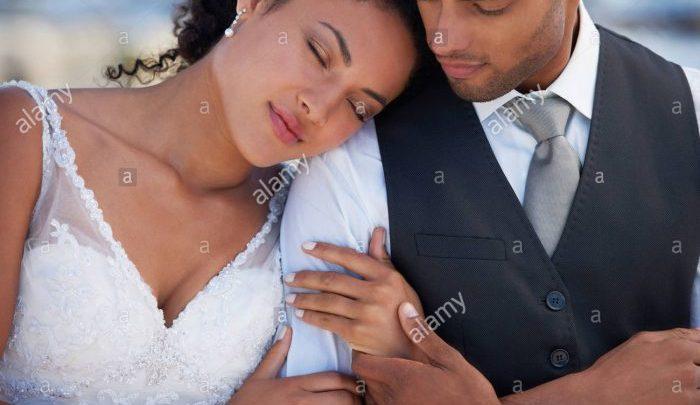 Newly wed black couple (Photo-Alamy stock photo)