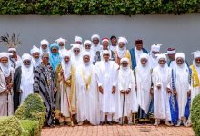 President Buhari with Emirs at a recent event at the State House, Abuja. On his immediate right is Sultan Muhammad Sa'ad Abubakar III