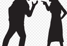 Silhouette of yelling couple