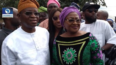 Osun Gov. Adegboyega Oyetola and wife, Kafayat (Photo credit-Channels TV)