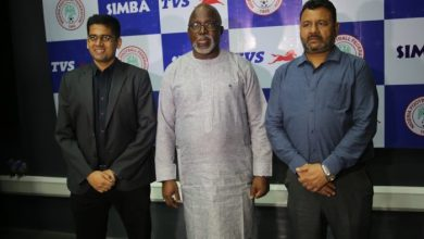(From left) Simba Group Head of Marketing, Karthik Govindarajan; President Nigeria Football Federation, Amaju Pinnick; and Business Head Simba TVS, Mahendra Pratap at the contract renewal signing ceremony between both partners in Lagos