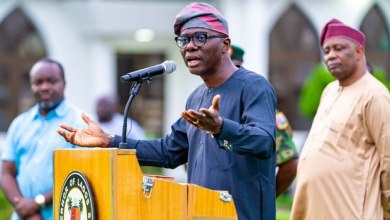 Gov. Babajide Sanwo-Olu at his daily COVID briefing (Photo credit: Channels Television)