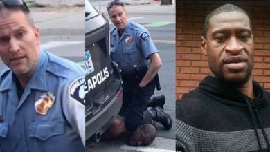 Mad police officer, Derek Chauvin killing George Floyd in broad daylight in Minneapolis (photo credit-KanyiDaily)