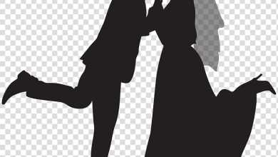 Silhouette of a just wedded couple (Courtesy Marriage Clipart)