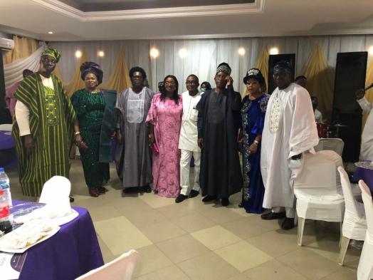 (L-R) Siyanbola Fapuro, Chief Awomolo, Elder Deji Omole, Mrs. Bisi Kayode, Mr. Olurotimi Oluborode, Engr. Ebenezer Adegoke, Mrs. Iyabo Anne Sanyaolu, Prof. Bolaji Agbede