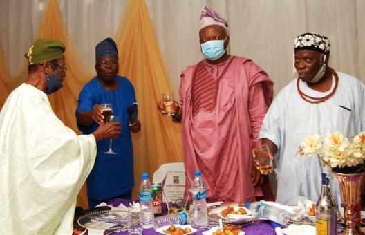 Toast to excellence (l-r) Engr Adeyemi, Prof. Lucas, Olayinka, Oba Adelekun