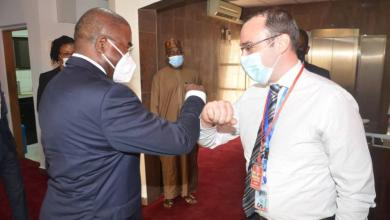 Chairman/Chief Executive, National Drug Law Enforcement Agency, NDLEA, Gen. Mohammed Buba Marwa (Retd) exchanging pleasantries with the Regional Operations Manager, West Africa, of UK Border Force of Europe and International, Mr. Kris Hawksfield, during the visit