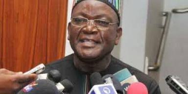 Gov. Samuel Ortom speaking to State House correspondent safter meeting President Buhari