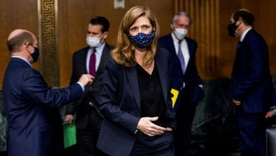 Samantha Power, President Joe Biden's nominee to lead USAID, walks to her seat prior to her confirmation hearing. Jim Lo Scalzo/REUTERS