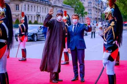 President Buhari with French President, Emmanuel Macron, in Paris