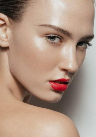 Healthy Glow skin with red lipstick