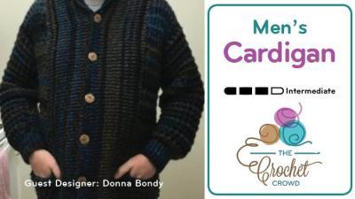 Crochet Waffle Post Men's Cardigan by Donna Bondy