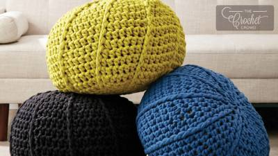Crochet Ridge Stitch Pouf