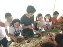 Boodle fight with fellow Biology majors