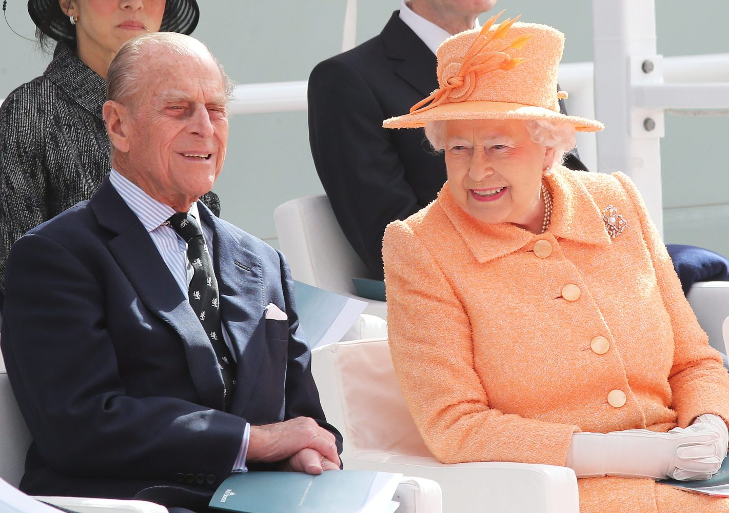 Image licensed to i-Images Picture Agency. 10/03/2015. Southampton, United Kingdom. The Queen and the Duke of Edinburgh at the official naming ceremony of  the P&O cruise ship Britannia  in Southampton, United Kingdom.  Picture by Stephen Lock / i-Images