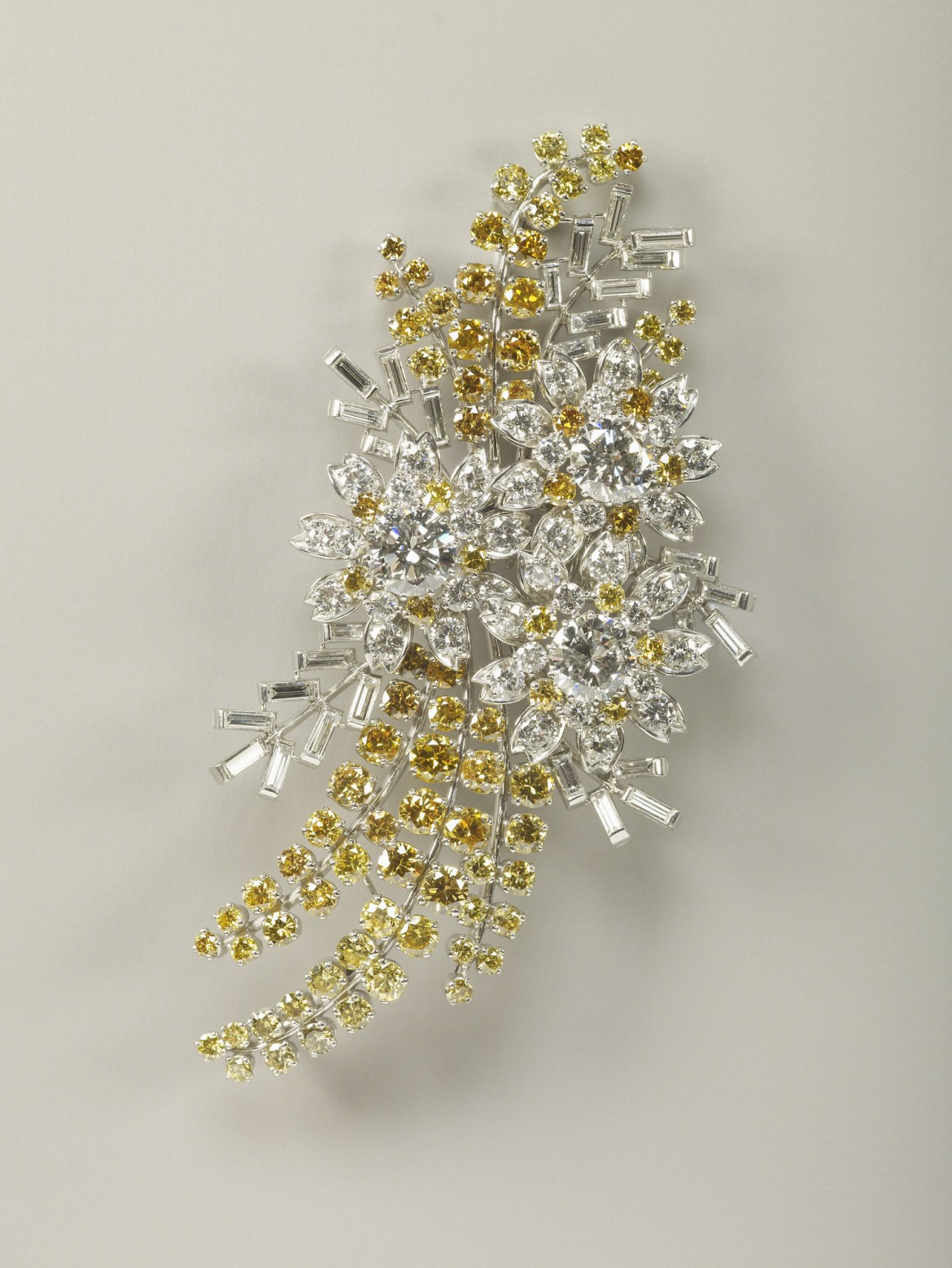 The Queen's Wattle Brooch in platinum and yellow diamonds