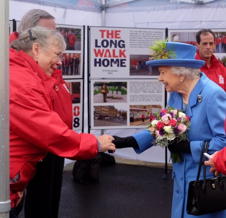 The Queen speaks to veterans who walked from Ypres to the Cenotaph in London (Royal Family)