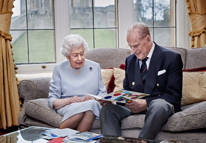 The Queen and Prince Philip in a photo at Windsor to mark their 73rd anniversary