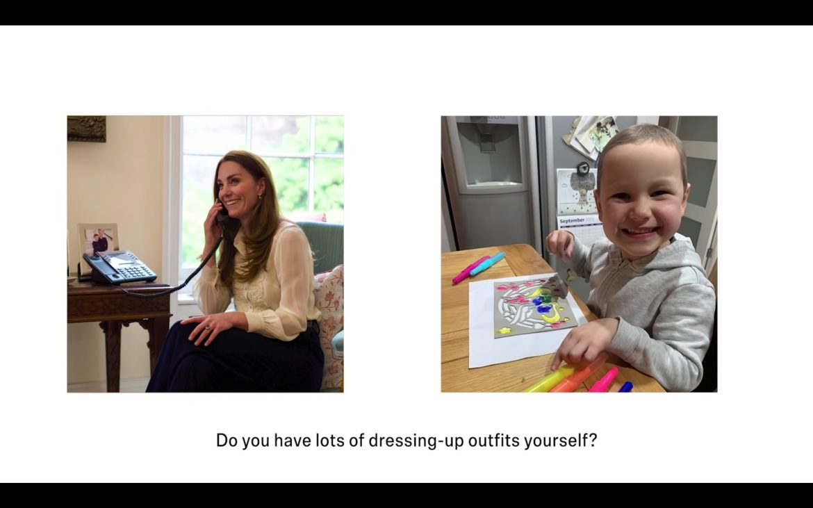 Kate faces left, with her hand on her though, grinning; she is speaking to Mila on the phone. Mila is shown with some hair regrowth, colouring at teh kitchen table with a big grin. in white blouse facing right holds a phone to her ear as she chats to 4-year-old Mila Sneddon, who is shown smilling a wide grin at the camera with her mother; she does not have hair and there is a tube in her nose