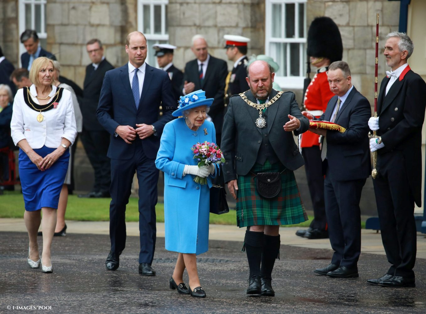The Queen, accompanied by Prince William, The Duke of Cambridge, at the Ceremony of the Keys at the Palace of Holyroodhouse in Edinburgh