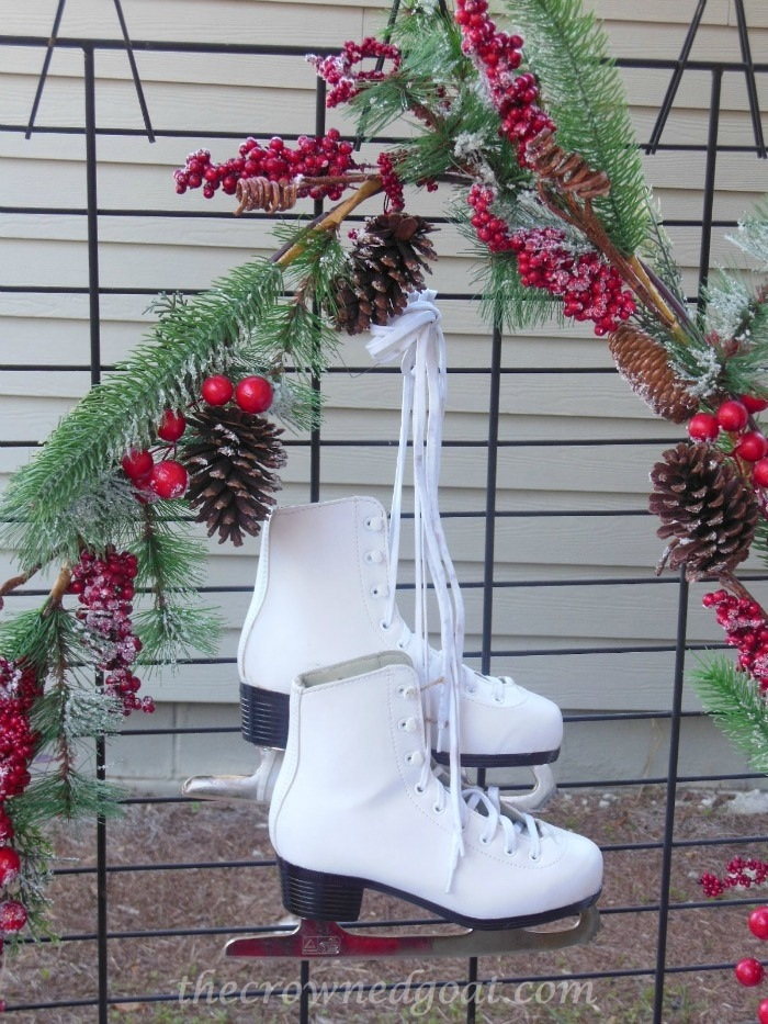 121514-5 White Ice Skates and Berry Garland