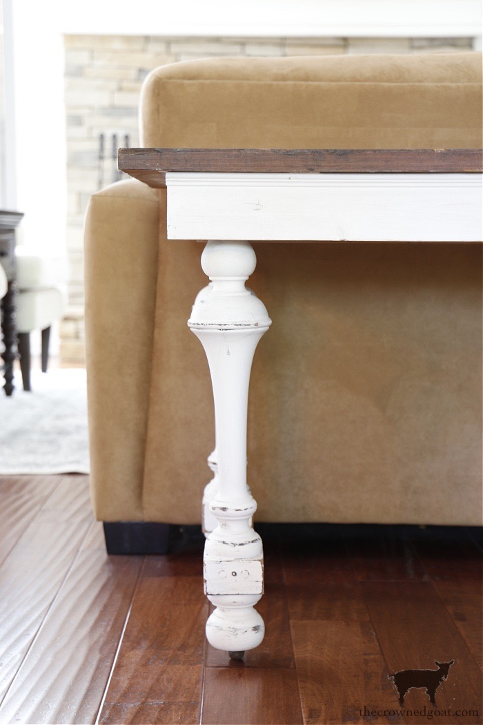 Salvaged-Legs-on-a-DIY-Console-Table-The-Crowned-Goat How to Create a Console Table from an Old Door DIY Painted Furniture