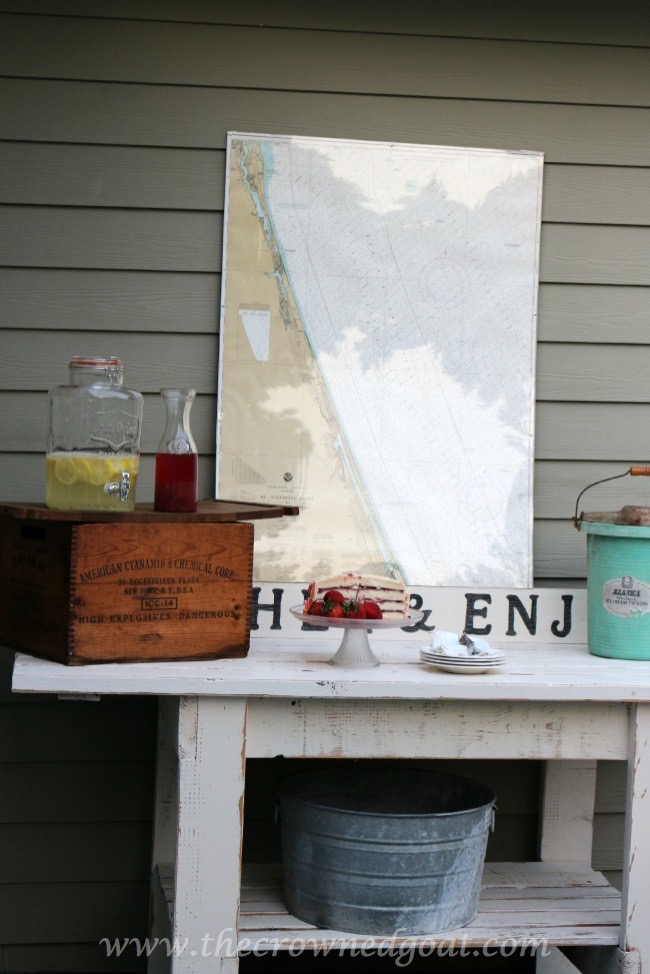 Gather-and-Enjoy-Backyard-Serving-Station-The-Crowned-Goat-050815-2 Backyard Patio Makeover Reveal Decorating DIY