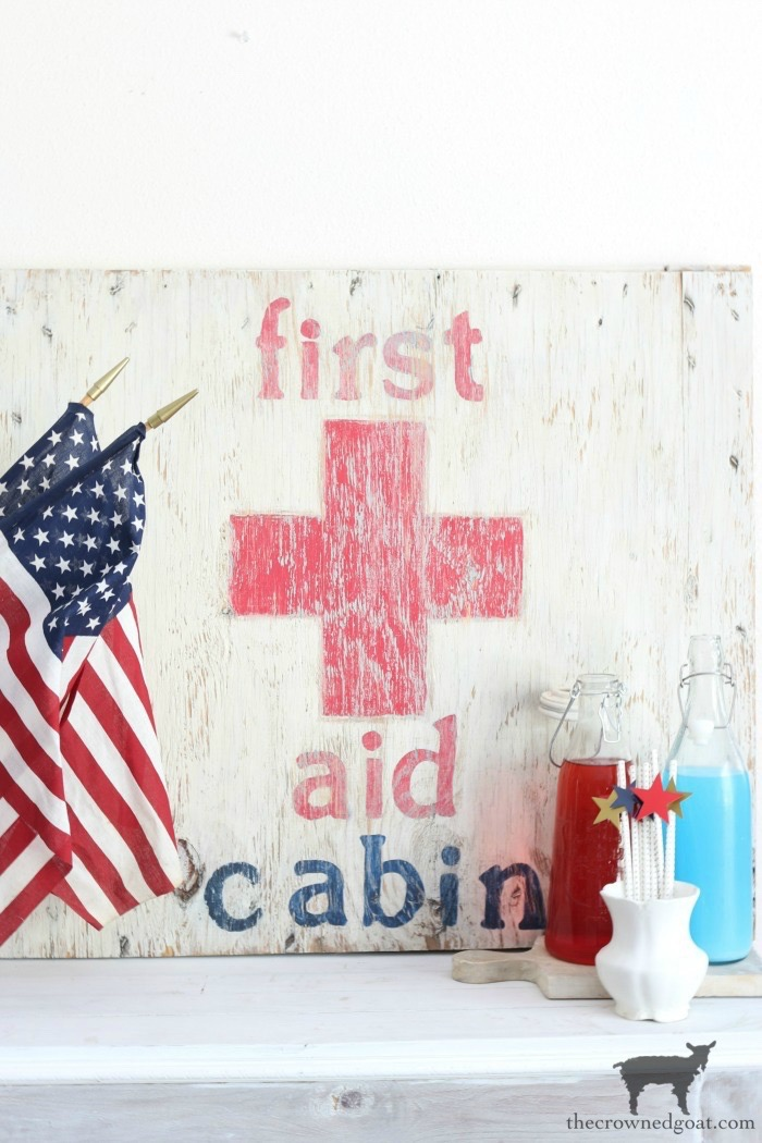 How-to-Make-a-First-Aid-Cabin-Sign-The-Crowned-Goat-2-1 How to Make a First Aid Cabin Sign Crafts DIY Summer
