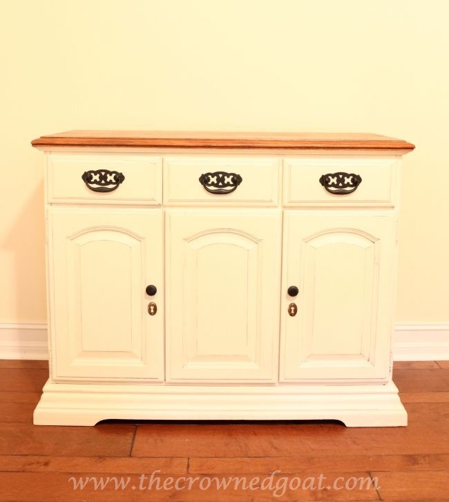 073015-5 Old White and French Linen Painted Buffet DIY Painted Furniture