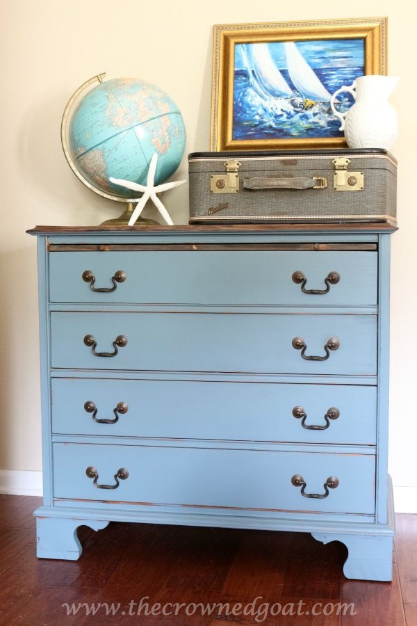 Coastal-and-Weathered-Inspired-Dresser-Makeover-090115-14 Coastal Blue and Weathered Inspired Dresser Makeover Painted Furniture
