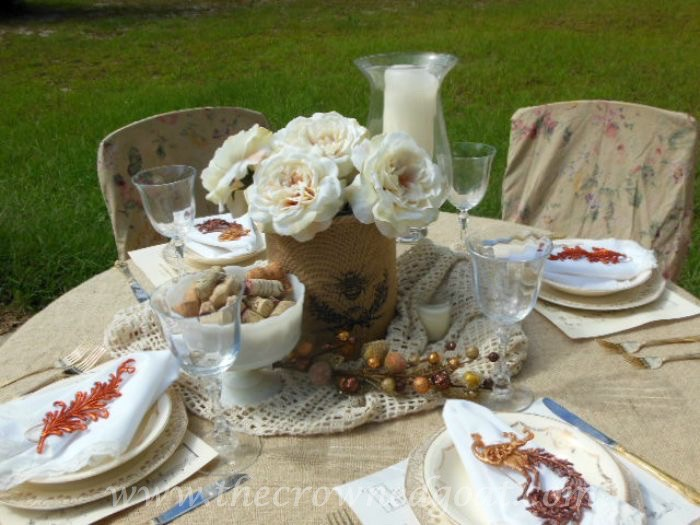Fall Tablescape with Vintage China and Burlap 090315-8
