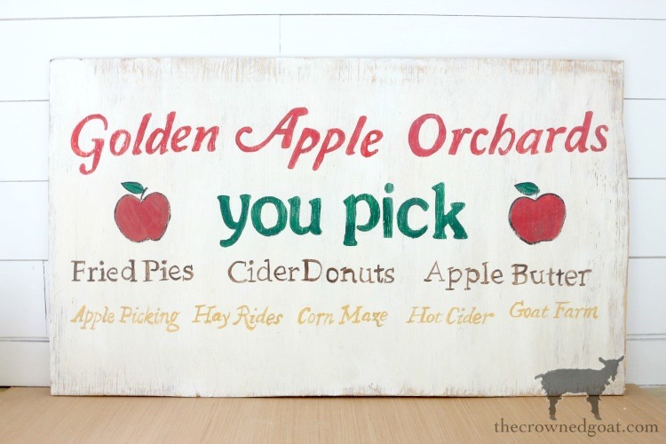 How-to-Make-a-Vintage-Apple-Picking-Sign-The-Crowned-Goat-17A A Vintage Inspired Apple Picking Sign Crafts Fall Holidays