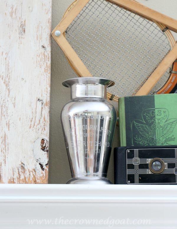 Summer-Mantle-Vignette-with-Vintage-Trophy-090215-2 How to Revive a Tarnished Vintage Trophy DIY