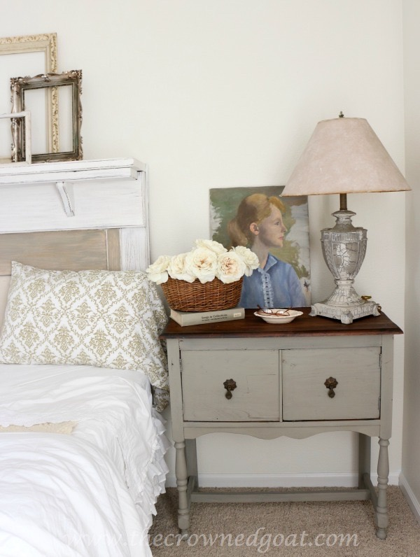 French Linen Painted Nightstand – The Crowned Goat