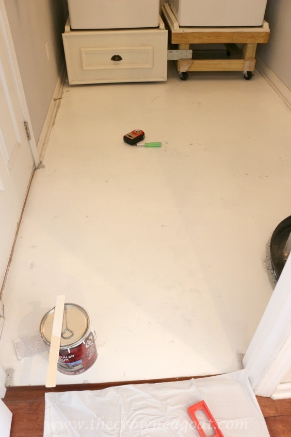 How To Paint A Laundry Room Floor The Crowned Goat