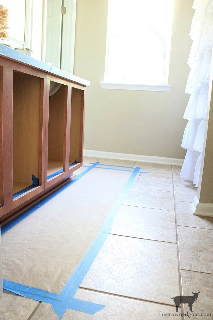 How-to-Paiint-a-Bathroom-Cabinet-with-Milk-Paint-The-Crowned-Goat-4 How to Paint a Bathroom Cabinet with Milk Paint DIY One_Room_Challenge Painted Furniture