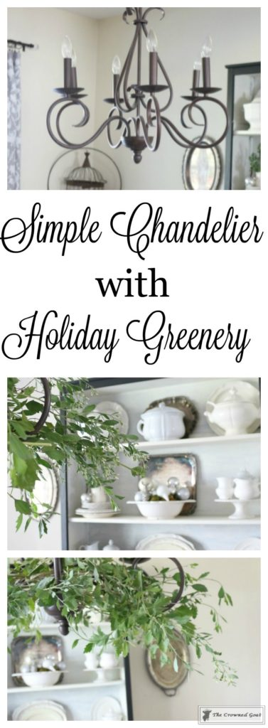 Simple-Holiday-Chandelier-with-Greenery-2-377x1024 Adding Holiday Greenery to Simple Chandeliers Christmas DIY Holidays