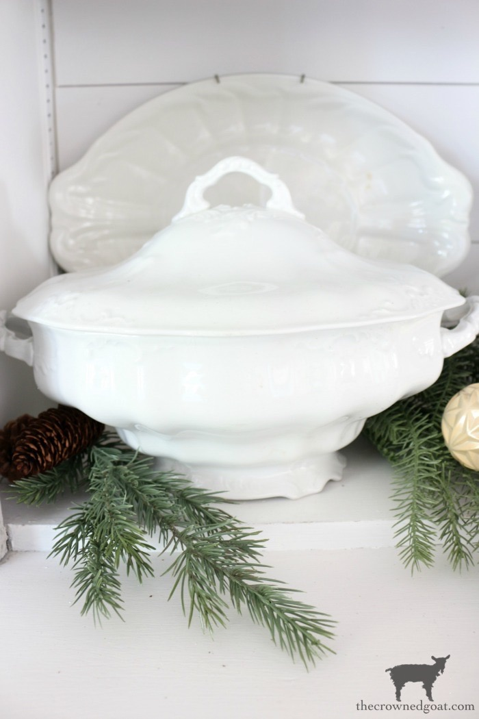 Soft-Romantic-Farmhouse-Christmas-Dining-Room-The-Crowned-Goat-6 How to Plant Kale in Ironstone Containers Christmas DIY Holidays Thanksgiving