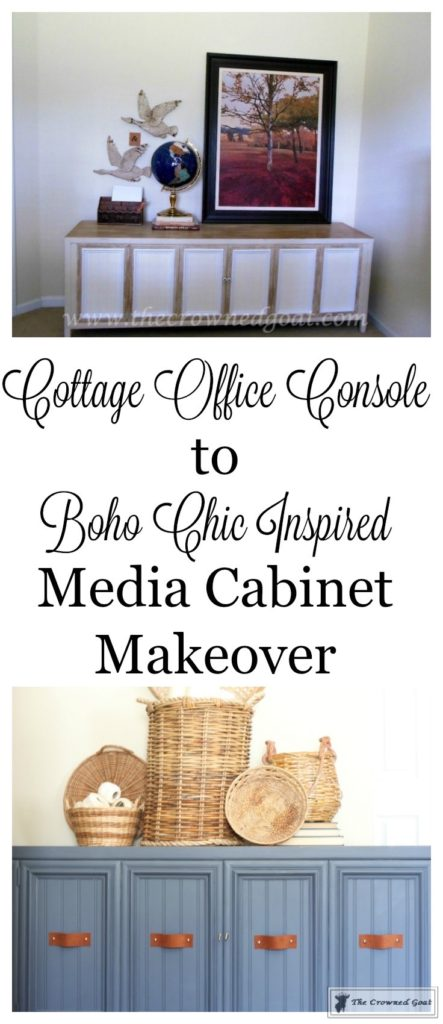 Cottage-Console-to-Boho-Chic-Media-Cabinet-Makeover-2-443x1024 Boho Chic Inspired Media Cabinet Makeover Decorating DIY